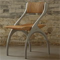 Teak and Cast Aluminium High Back Contemporary Chair