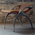 Teak and Cast Aluminium Low Back Contemporary Chair