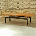 Hand Formed Structual Steel Bench Supporting a Contemporary Teak Surface