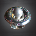 Sterling Silver Ring with a Silver Orb Surrounded by Gem Stones